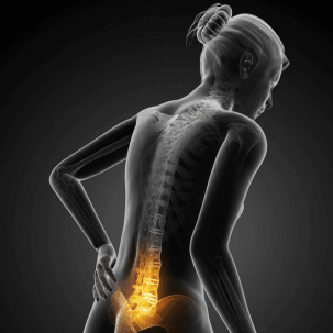 Illustration of woman with lower back pain highlighted